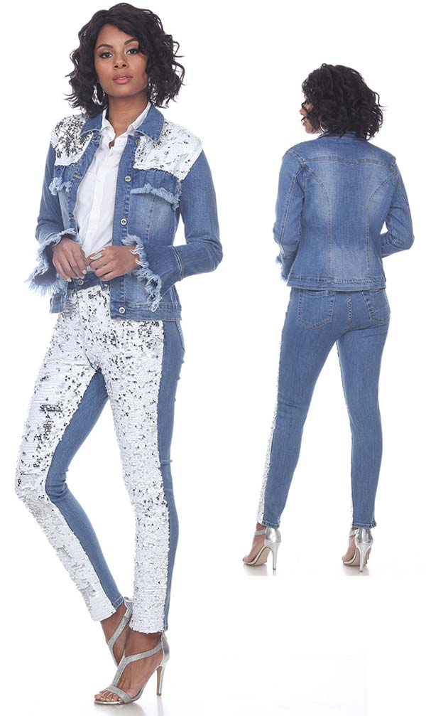 Tesoro Moda 20031-20031 Womens Two Tone Pant Suit In Stretch Denim Fabric With Distressed Edging