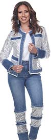 Tesoro Moda 20036-20036 Womens Sequin Embellished Pant & Jacket Set In Stretch Denim Fabric