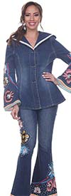 Tesoro Moda 20037-20037 Vintage Fashion Inspired Womens Pant Suit In Stretch Denim Fabric