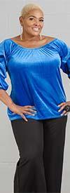 Antthony 15278-Blue - Womens Off-Shoulder Tiered Sleeve Velvet Top