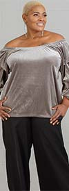 Antthony 15278-Silver - Womens Off-Shoulder Tiered Sleeve Velvet Top