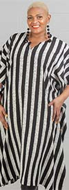 Dubgee 3007 - Womens Striped Kaftan With V-Neck Design
