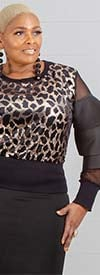For Her 81705 - Womens Mesh Tier Sleeve Sequin Animal Pattern Top