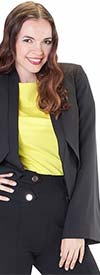 For Her 8569-Black - Asymmetrical Style Bell Sleeve Womens Jacket Top