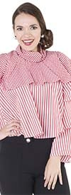 For Her 8619-RedWhite - Womens Striped Tier Sleeve Top With Check Pattern Layer