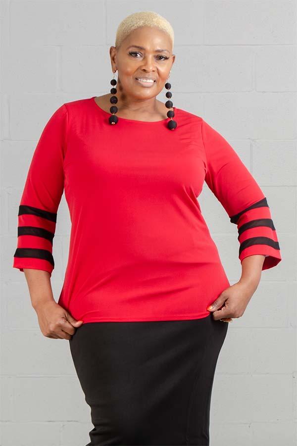 KarenT-2058-Red - Three-Quarter Mesh Stripe Inset Sleeve Womens Top