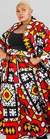 KaraChic - 243-96-RedYellow - Ladies African Print Long Tunic Top