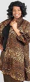 KaraChic - 243-254-Leopard - Ladies African Print Long Tunic Top