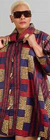 KaraChic - 243-312-RedMulti - Ladies African Print Long Tunic Top