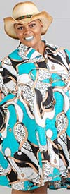 KaraChic - 243-485-AquaMulti - Ladies African Print Long Tunic Top