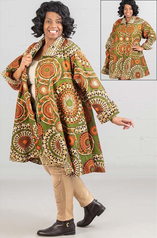 KaraChic - 243-497A-GreenOrange - Ladies African Print Long Tunic Top