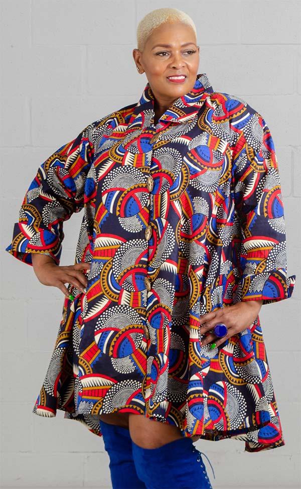KaraChic - 243-510-NavyRedMulti - Ladies African Print Long Tunic Top