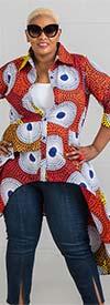 KaraChic 7506 - Womens Tiered Button-Up African Print Sharkbite Hemline Top