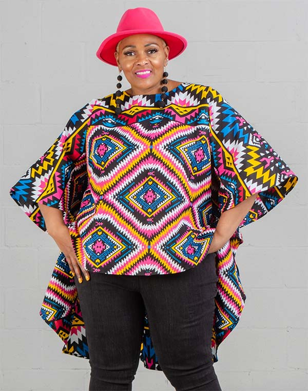 KaraChic 7551-Multi Print - Womens African Style Print High-Low Top