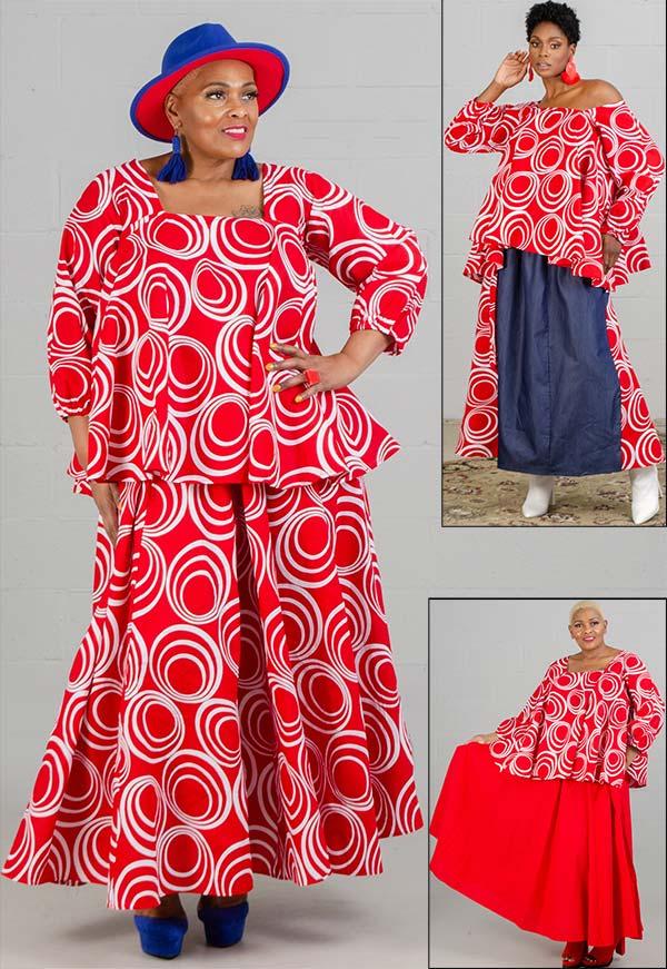 KaraChic 7567-RedWhite - Womens African Style Print Square Neckline Top