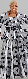 KaraChic 7567-BlackWhite - Womens African Style Print Square Neckline Top
