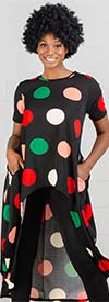 KaraChic CHH19071 - Womens High-Low Style Polka-Dot Knit Tunic Top With Pockets