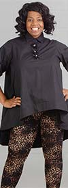 N By Nancy NBY-A-90015-Black - High-Low Style Womens Top With Embellished Placket
