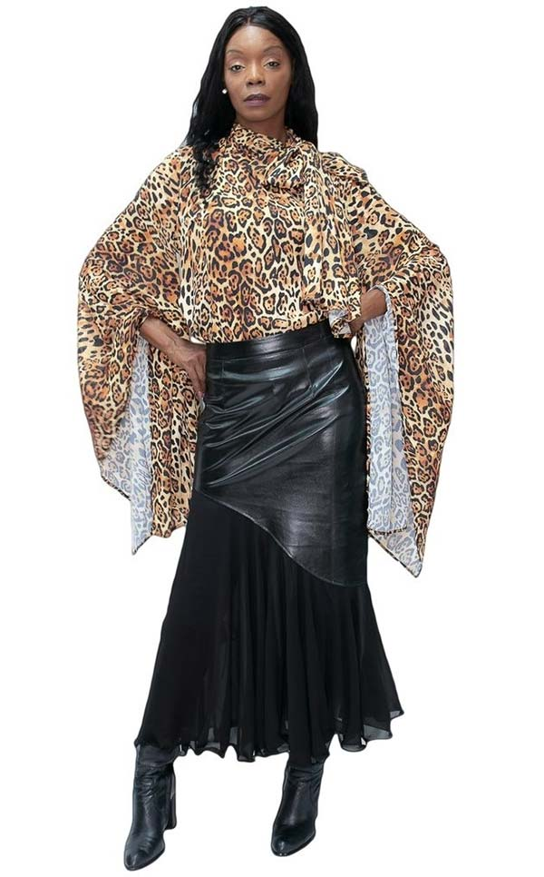 N By Nancy NBY-C11233B-Coffee - Batwing Style Womens Bow Neckline Animal Print Top