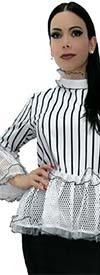 N By Nancy X7088-White - Peplum Style Stripe Print Design Top With Mesh Ruffle Trims