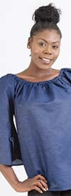 NF 7032 Womens Bell Sleeve Denim Top With Gathered Neckline