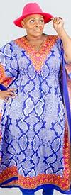 NF PNA1354-Blue - V-Neck Womens Kaftan In Bold Animal Print Design