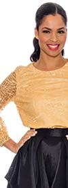 Raquel 1128 Ladies Sheer Layer Design Longsleeve Top