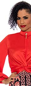 Raquel 1165-Orange - Ladies Front Twist Satin Top With Band Collar