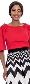 Raquel 1177 Ladies Flutter Sleeve Round Neck Top With Shoulder Detail