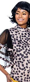 Raquel 1186 - Womens Animal Print Top With Sheer Sleeve Design