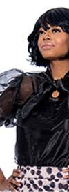 Raquel 1195-Black - Organza Puff Sleeve Womens Bow Neckline Top
