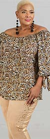 Simply Irresistible 9969BX - Ladies Leopard Print Tie Sleeve Top With Gathered Neckline