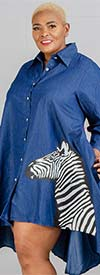 Step In Style - AA20-666ZEB - Womens High-Low Denim Tunic Top With Zebra Applique