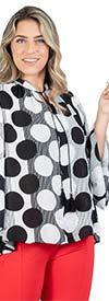 Unique Spectrum 35002 Bell Sleeve V-Neck Tassel Tie Womens Top In Polka-Dot Print Design