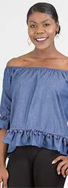 Vivid Collection 1695DX - Ladies Off-the-Shoulder Top With Pom-Pom Fringe Trims