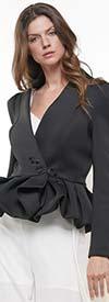 Why Dress-J190052-Black  - Peplum Scuba Jacket Top With Button Enclosure
