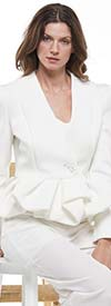 Why Dress-J190052-OffWhite  - Peplum Scuba Jacket Top With Button Enclosure