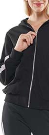 Why Dress-J190473-Black - Embellished Sleeve Design Womens Hoodie Top