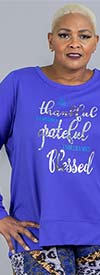 Avenue 21165 - Womens Long-Sleeve Top With Blessed Graphic And Cut-Out Back