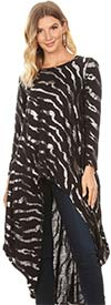 KarenT-J897S-Black / Silver - Long-Sleeve High-Low Style Knit Womens Sequin Top