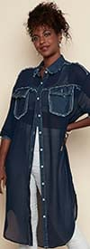 Luxe Moda LM140 - Womens Denim and Sheer Fabric Design Duster Style Tunic Top