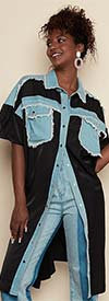 Luxe Moda LM141 - Womens Denim Fabric Patch Pocket Design Duster Style Tunic Top