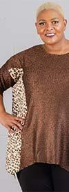 Berek L32210YR - Womens Crinkle Fabric Tunic Top With Animal Print Detail