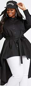 Dubgee 3026-Black - Womens High-Low Style Button-Up Tunic With Sash