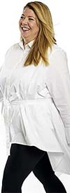 Dubgee 3026-White - Womens High-Low Style Button-Up Tunic With Sash