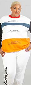 Dubgee 6029 -  Womens Color Block Sweatshirt With Believe In All Possibilities Text Print