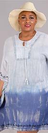 Etc. TSI8153-Light Blue - Womens Tye Dye Poncho / Dress