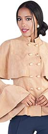 For Her 8584 - Womens Bell Sleeve Faux Suede Top With Capelet Design