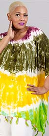 Jackpot KF1003-Dark Green / Gold - Womens Kaftan In Tie-Dye Print With Fringe Trim