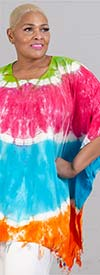 Jackpot KF1003-Fuchsia / Turquoise - Womens Kaftan In Tie-Dye Print With Fringe Trim